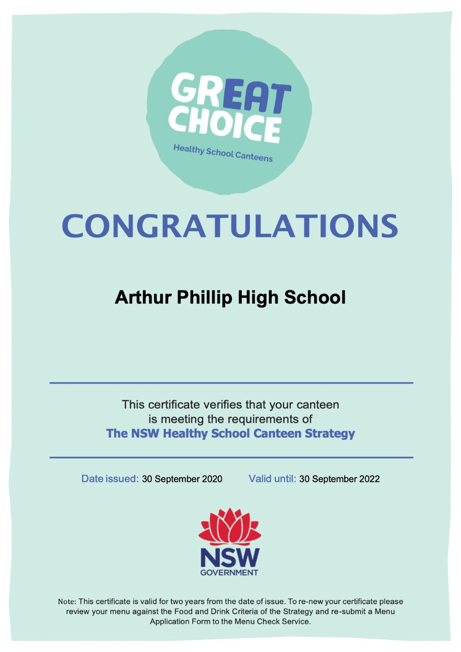 Great Choice Certificate APHS